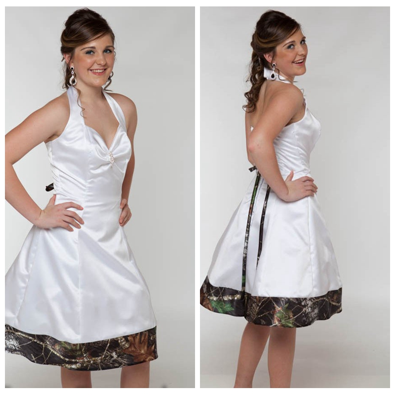 2019 New Camo Weddings Camouflage Bridesmaid Dresses Custom Made Short White Girl Dresses Strapless Wedding Party Gowns Last Style Weddings & Events