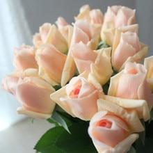 Купить с кэшбэком 7 Pcs Real Touch Branch Stem Latex Rose Hand Feel Felt Simulation Decorative Artificial Silicone Rose Flowers Home Wedding