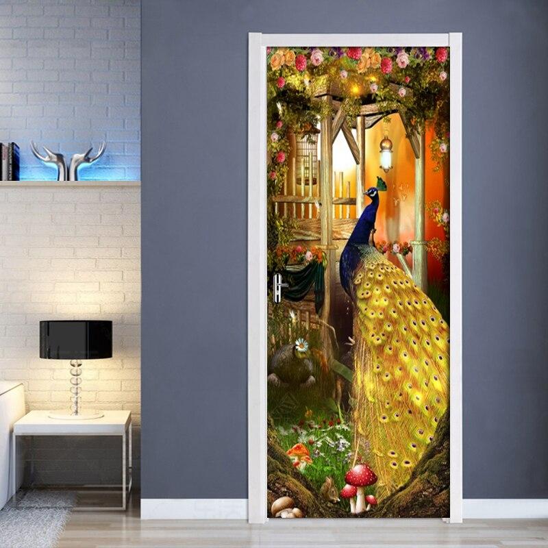2Pcs/Set 3D Creative Sticker Peacock Door Wall Sticker DIY Mural Bedroom Home Decor Poster PVC Waterproof Door Sticker Imitation