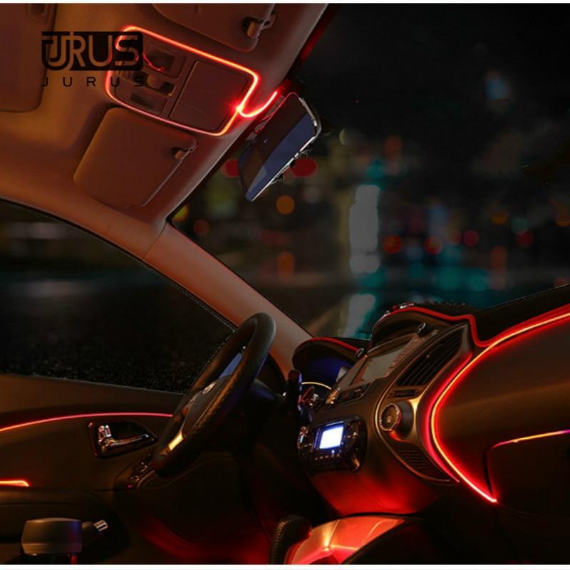 JURUS 3 Metri AUTO interni luce refit di serraggio-edge EL Filo Flessibile Neon Car Decorare Con 12 V Sigaretta unità di Trasporto libero