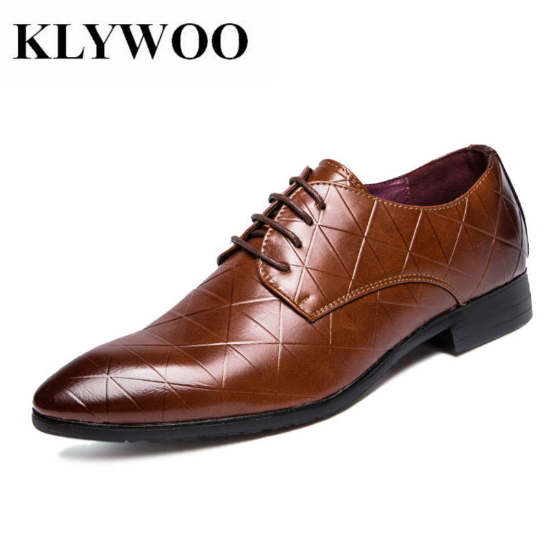 KLYWOO Brand Men Dress Shoes Pointed Toe Lace Up Men Business Weding Casual Shoes Brown Black Leather Oxford Shoes For Men Flats pjcmg new fashion luxury comfortable handmade genuine leather lace up pointed toe oxford business casual dress men oxford shoes