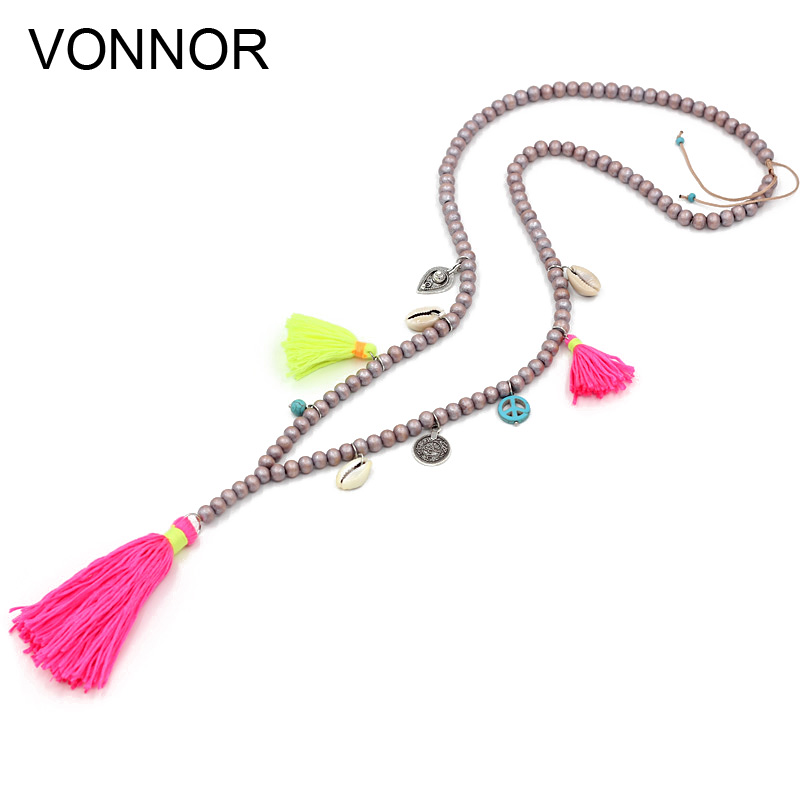 Colorful Long Tassels Gift for Friend Long Beaded Tassel Necklace Boho Necklace Hand Knotted Bohemian Necklace Bohemian Jewelry