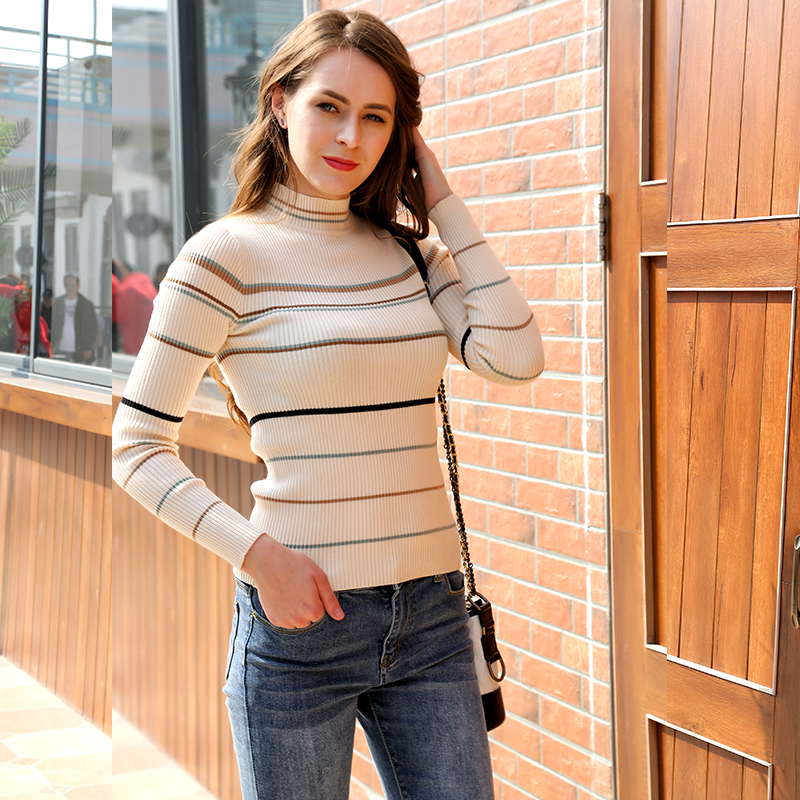 Mishow 2019 Autumn Winter Fashion Warm Jumper Women Stripe Knitted Sweaters Female Casual Long Sleeve Tops MX18D5533