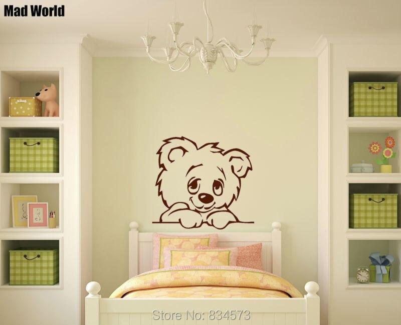 Mad World NURSERY BABY TEDDY BEAR Silhouette Wall Art Stickers Wall ...