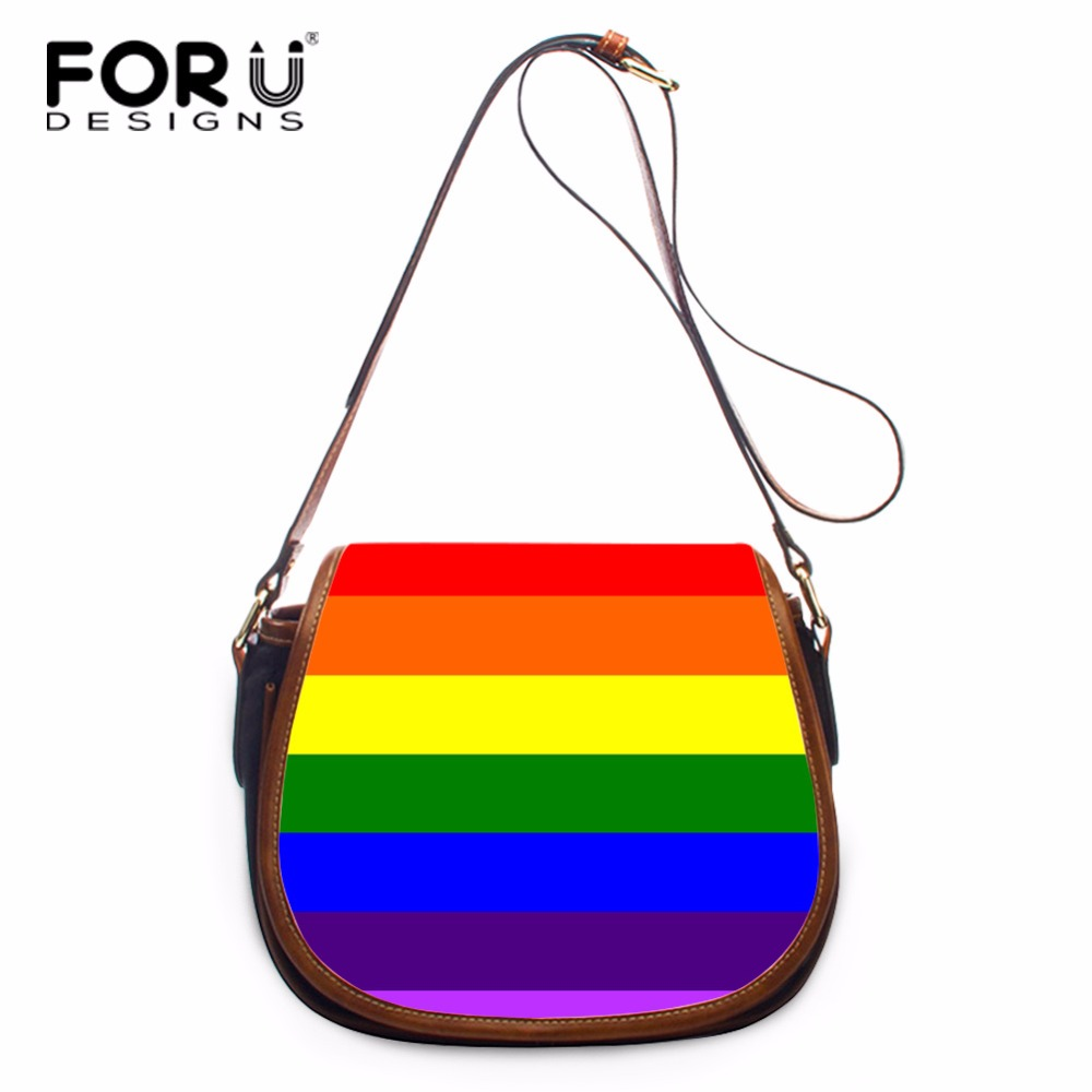 FORUDESIGNS Rainbow Colorful Designer Women Shoulder Bags Female Messenger Bag Ladies Brand Crossbody Bag Girls Pu Leather Bags 2017 national embroidery bags women leather shoulder bag lady college crossbody bag colorful strap girls messenger bags school