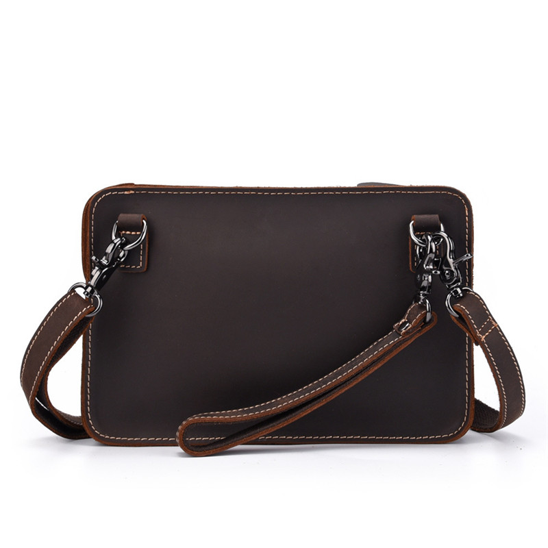 PNDME retro simple genuine leather men 39 s clutch bag simple multi function crazy horse cowhide daily light shoulder messenger bag