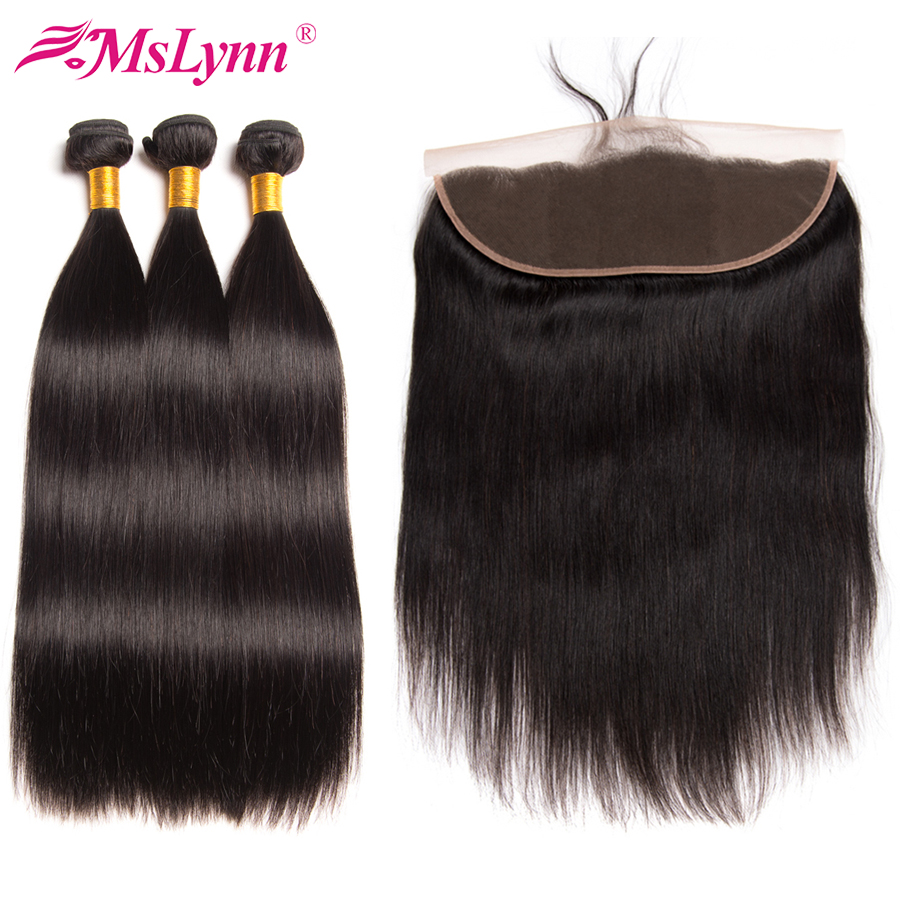Straight Hair Bundles With Frontal Brazilian Hair Weave Bundles Frontal With Bundles Human Hair Bundles With Closure Non Remy 3/4 Bundles With Closure Human Hair Weaves