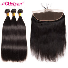 Straight Hair Bundles With Frontal Brazilian Hair Weave Bundles Frontal With Bundles Human Hair Bundles With Closure Non Remy(China)