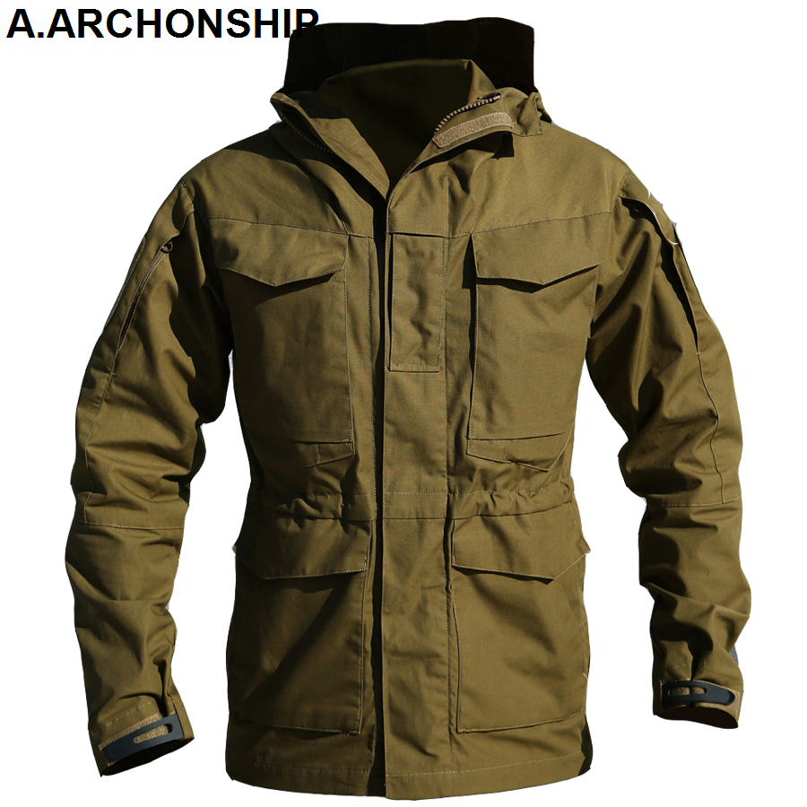 Jackets Mens Hoodie Coat Flight Windbreaker Pilot Military-Field M65 Us-Army Waterproof