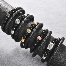 Jiayiqi New Fashion Leather Beaded Bracelet For Men Women Braided Rope Bangles Natural Stone Beads Punk Rock Jewelry