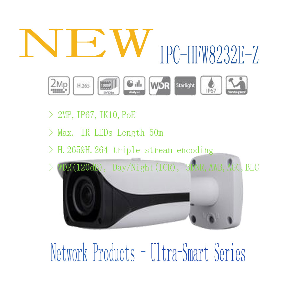 Free Shipping DAHUA CCTV IP Camera 2MP FULL HD Starlight IR Bullet Network Camera IP67 IK10 With PoE Without Logo IPC-HFW8232E-Z free shipping dahua security ip camera cctv 8mp full hd ir bullet network camera with poe ip67 ik10 without logo ipc hfw5830e z