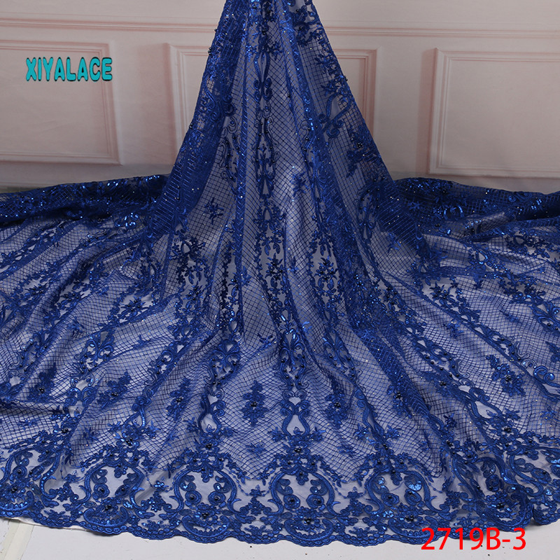 African Lace Fabric 2019 High Quality Nigerian Lace Fabrics Organza Sequins Beads Embroidery French Tulle Lace Fabric YA2719B-3
