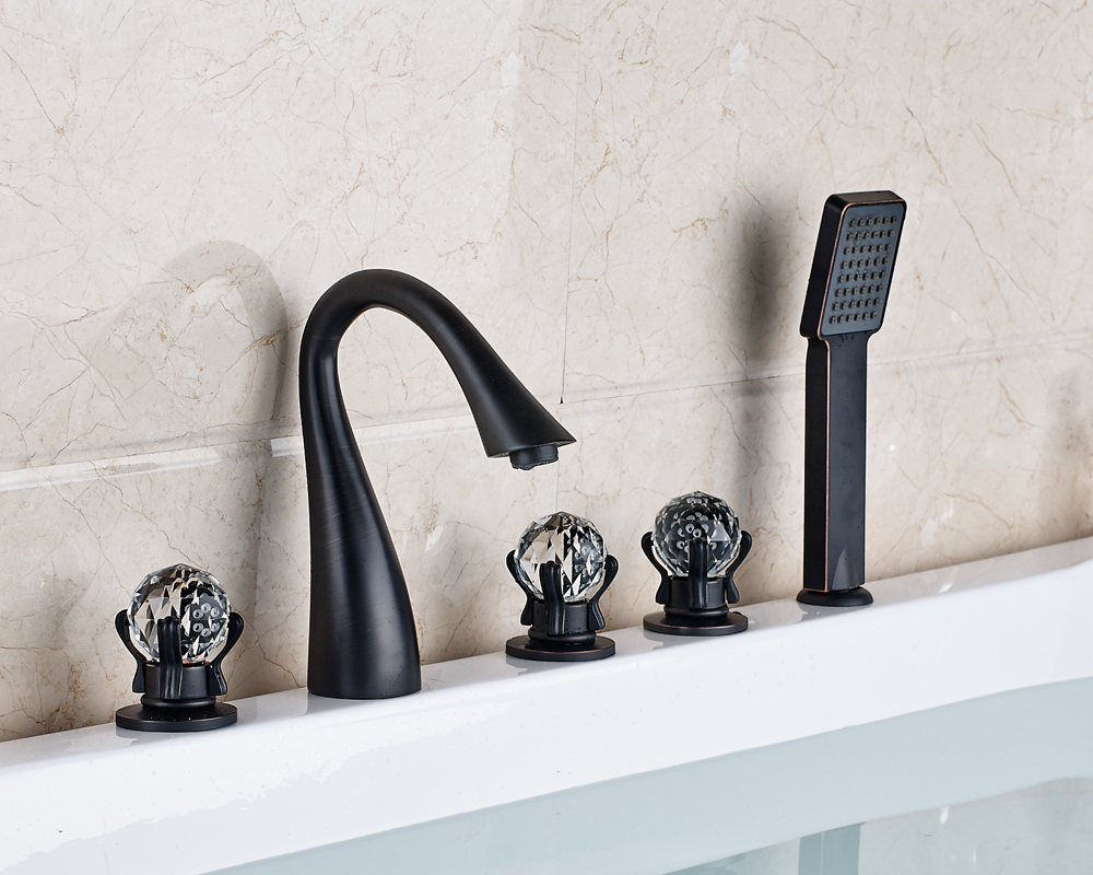 Widespread 5pcs High Spout Bathtub Faucet With Hand Shower Oil Rubbed Bronze Finished