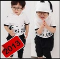 free shipping 100% cotton children clothing set 2~9Age Panda children's wear 2013 spring autumn New arrival kid boy girl baby
