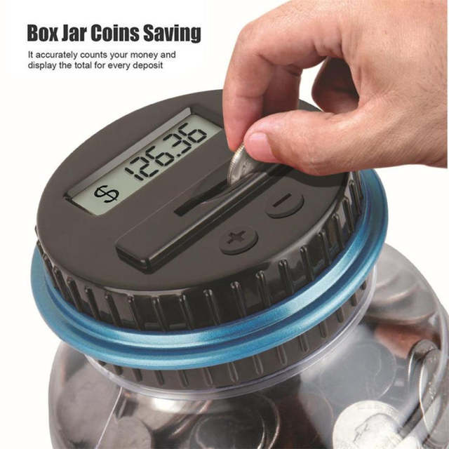 Clear Digital Piggy Bank Us American Coin Savings Counter Lcd Counting Money Jar Change Gift