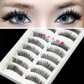 10 Pairs Hand made full strip Fake False Eyelashes Natural Long Look cotton stem 217 free shipping Beauty Health Makeup Tools
