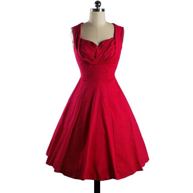 LERFEY New Vintage Dress Women 50s Retro Rockabilly Club Sleeveless Pleated Dress Elegant Party Swing Dresses Tunic Vestidos