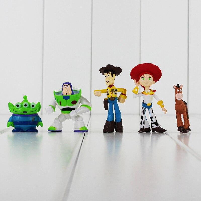 5 pçs lote 3 Figura Buzz Lightyear Woody Jessie Toy Story Rex Alienígena  Bullseye Cavalo Figura Brinquedos Coletivos da Boneca Caçoa o Presente em  Figuras ... 3e8eff2dafb
