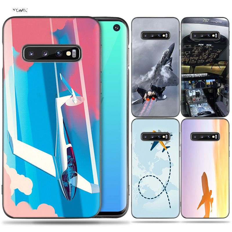 Silikon Fall Coque für <font><b>Samsung</b></font> <font><b>Galaxy</b></font> S8 S9 S10 Plus S10e 5G S6 <font><b>S7</b></font> Rand S8 + S9 + s10 + Hinweis 8 9 Aircraft Flugzeug <font><b>Fly</b></font> Reise image