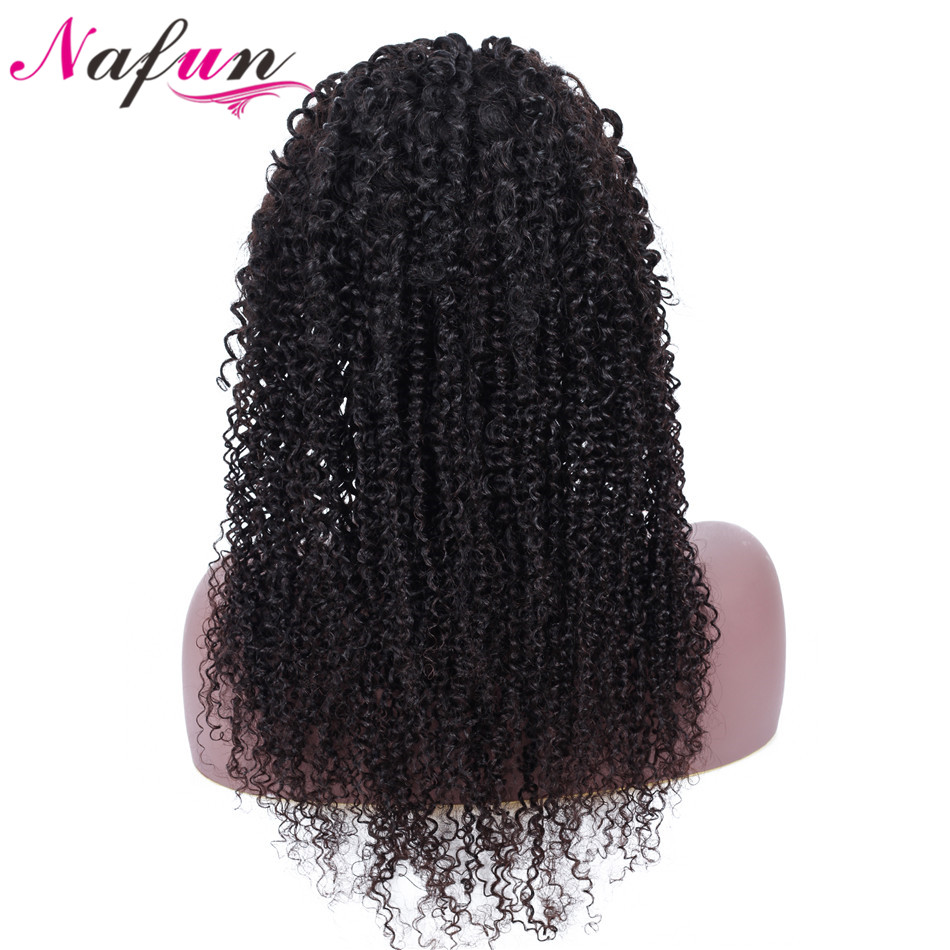 NAFUN Hair 4x4 Lace Closure Wigs Natural Color Kinky Curly Human Hair Wigs Remy Peruvian Human
