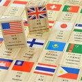 Chino Inglés ruso Idioma Coreano Bandera Nacional de Geografía Niños Educativos De Madera Dominó Juguetes de Bloques, 1 UNIDADES = 100 UNIDS