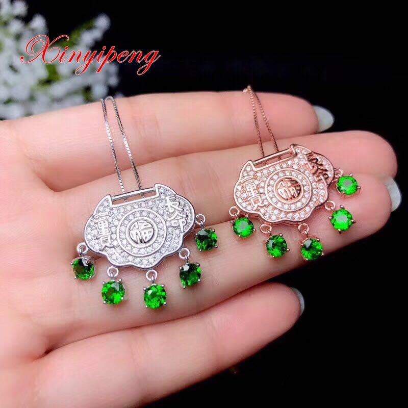 Xin yi peng 925 silver plated white gold rose gold inlaid natural diopside pendant necklace Women fine anniversary giftXin yi peng 925 silver plated white gold rose gold inlaid natural diopside pendant necklace Women fine anniversary gift