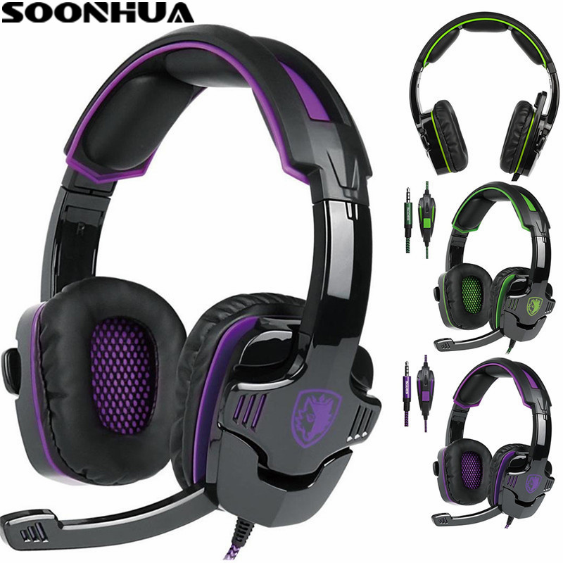 SOONHUA 3.5mm Earphone Gaming Headset Professional Gamer PC Headphone Game Stereo Gaming Headset With Microphone For Computer