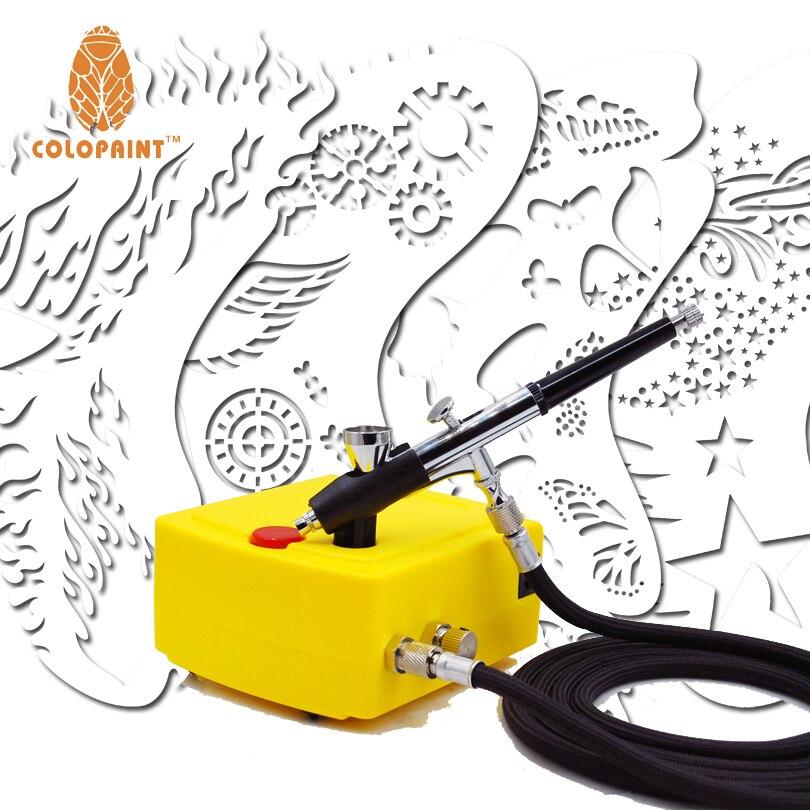 0.2mm 2CC Airbrush Face Paint Makeup Set Mini Air Compressor System Kit &Airbrush Nail Art Stencil Set 100-240V mini compresor de pintura