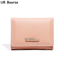 UR BOURSE High Quality Womens Short Wallet  Ladies Pu Leather Coin Purse Mini Card Holder Female Three-fold Multi-card