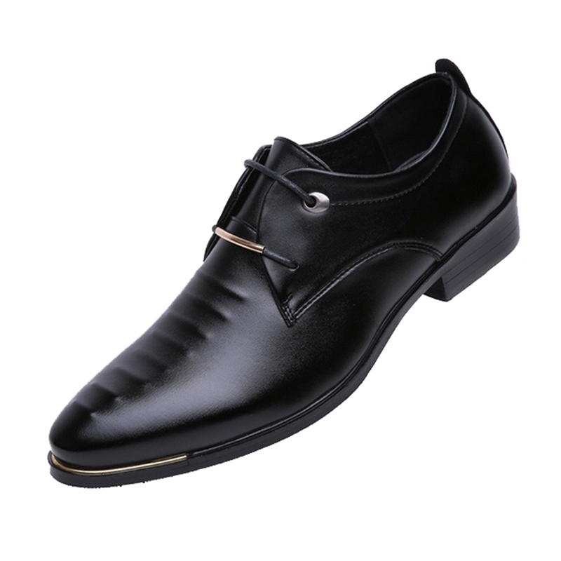 Men Leather Shoes Male Lace-up Pointed Toe WaterProof Soft Summer Breathable Wedding Business Shoes 38 patent leather men s business pointed toe shoes men oxfords lace up men wedding shoes dress shoe plus size 47 48