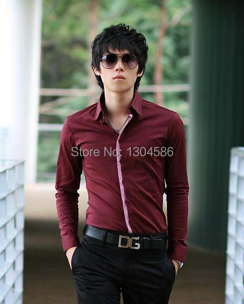 free shipping custom made men's shirts dark red shirts 100% cotton ...
