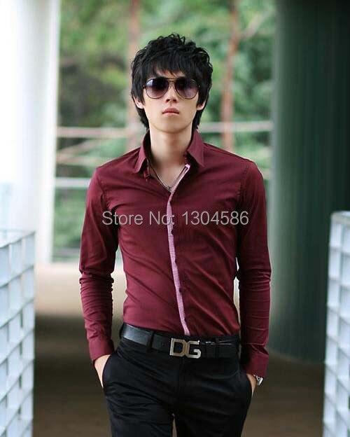 free shipping custom made men's shirts dark red shirts 100% cotton ...