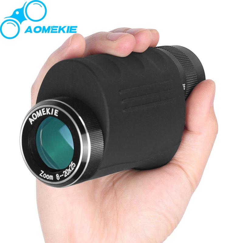 Compact 8-20X25 Zoom Monoculaire HD Optique En Verre Haute Puissance Observation Des Oiseaux de Chasse Télescope De Poche Spotting Scope Cadeau AOMEKIE