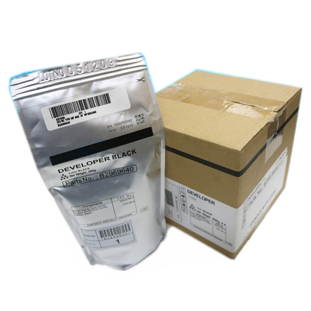 Black Developer 500g for Ricoh Aficio MP 3500 4000 4001 4002 4500 5000 5001 5002 SP 8200 MP 4001 5001 LD 040 genuine original 80% new ricoh mp 4000 4000b 5000 5000b 4001 5001 4002 5002 fuser cleaning web assembly unit d1294304 d1294305