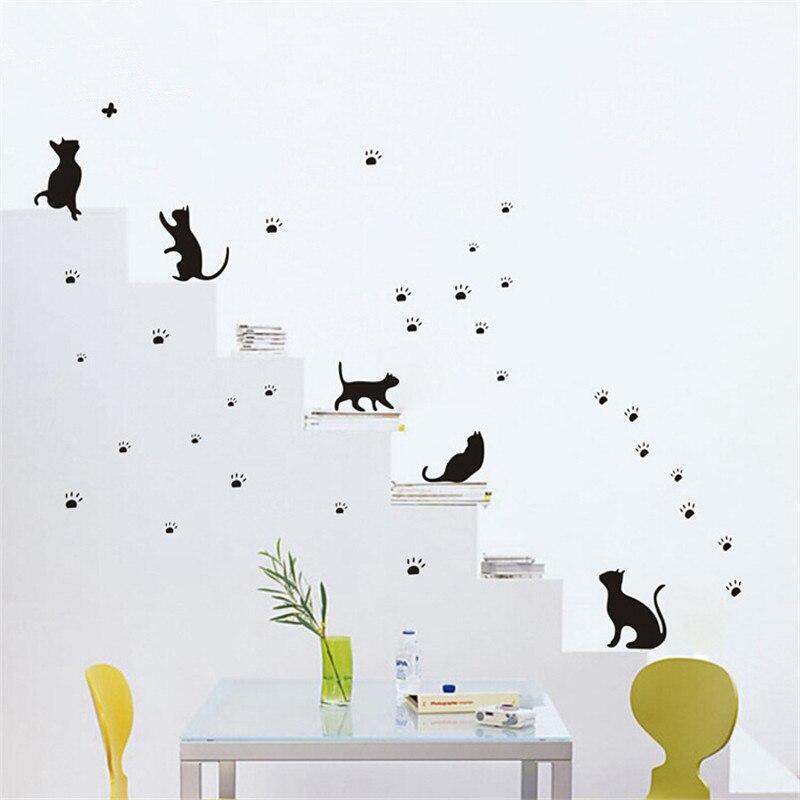 34x39 Cm Domu Dekoracji Mały Playing Cat Diy Pcv Naklejki
