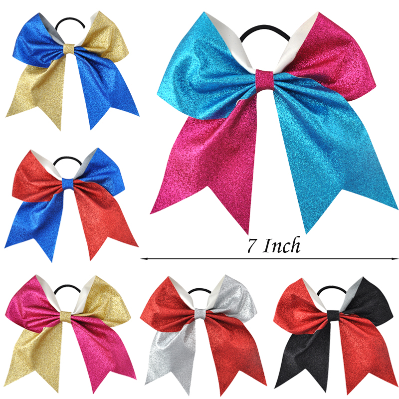12pcs/lot 7 Inch Girls Large Bling Cheerleading Hair Bows Glitter Elastic Hair Bands Ponytail Headwear Women Hair Accessories Relieving Heat And Sunstroke Girl's Accessories