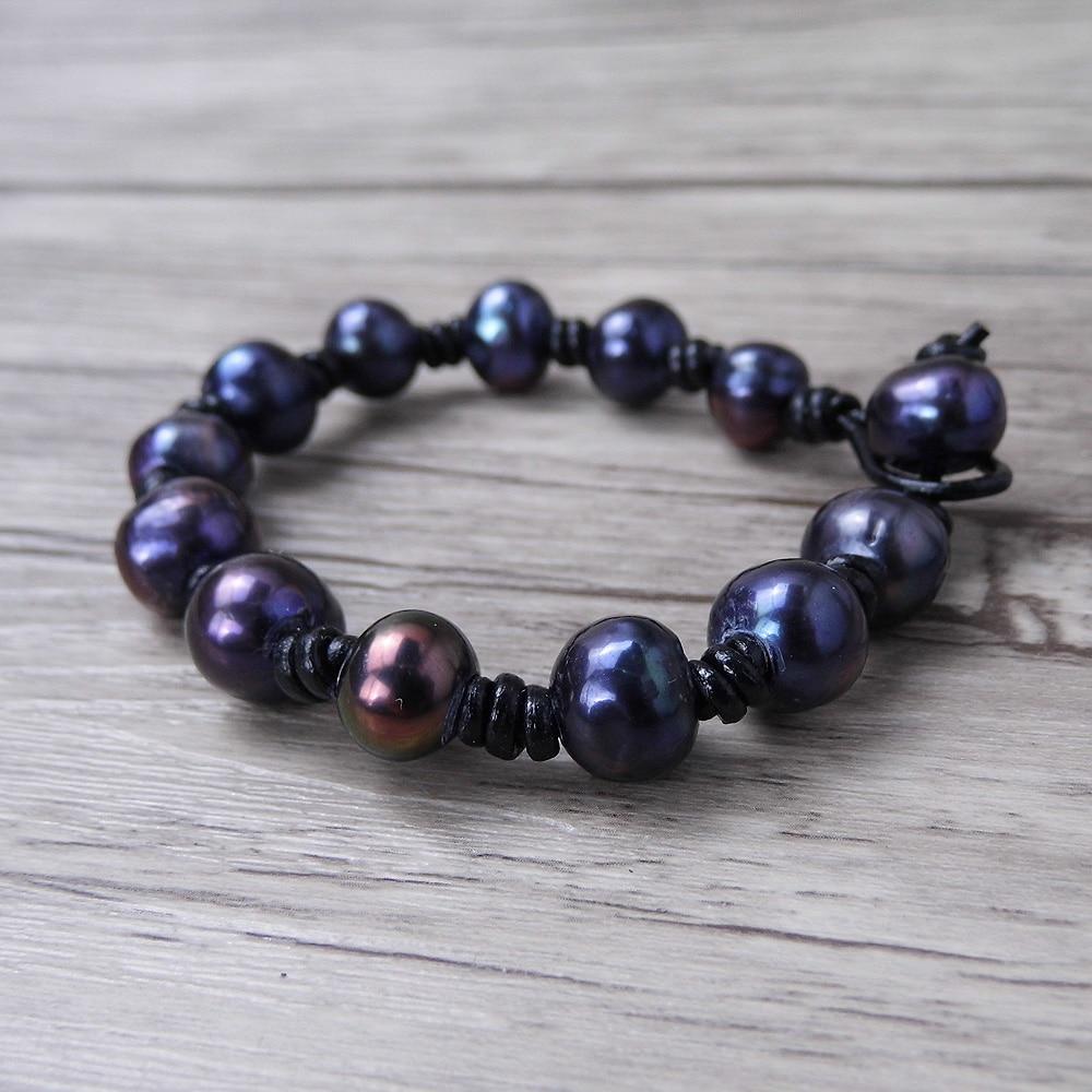 balck pearl beads ձեռնաշղթա Կաշի Boho փաթաթել - Նորաձև զարդեր - Լուսանկար 2