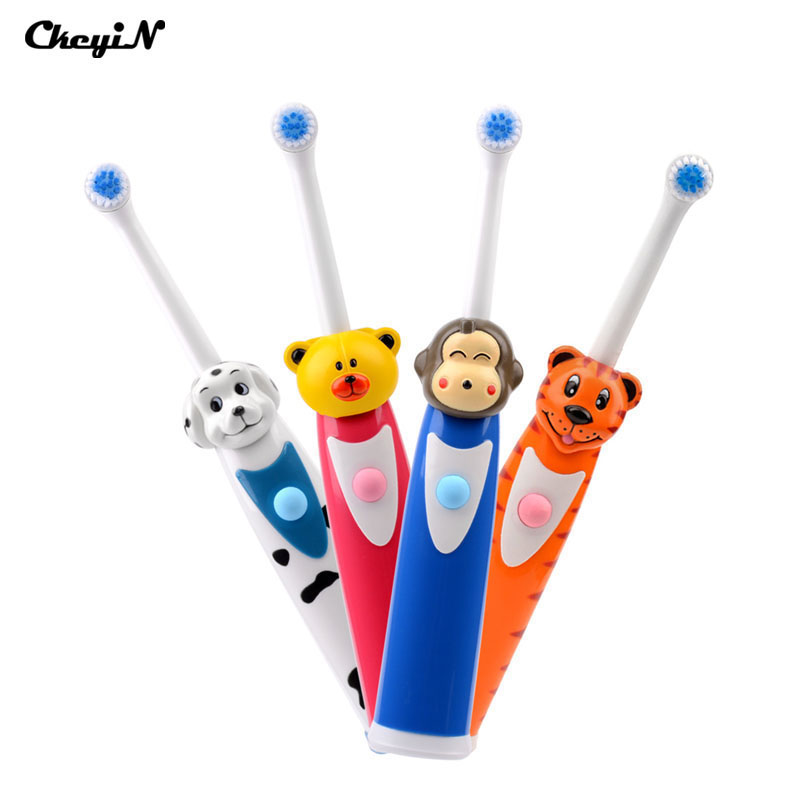 4 Sets Good Quality Kids Children Electric Toothbrush Cartoon Training Soft Teeth brush Oral Hygiene Tongue Cleaner Tool Cute ultra soft children kids cartoon toothbrush dental health massage 1 replaceable head outdoor travel silicone retractable folding