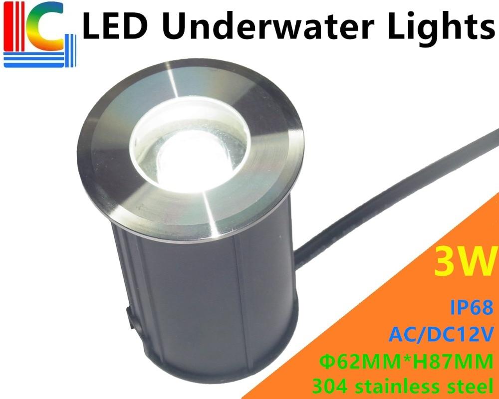 Freeshipping 3W LED Luces subacuáticas 12V IP68 Luz de camino al aire libre LED Piscina Lámparas subterráneas Lámpara impermeable de la escalera LED