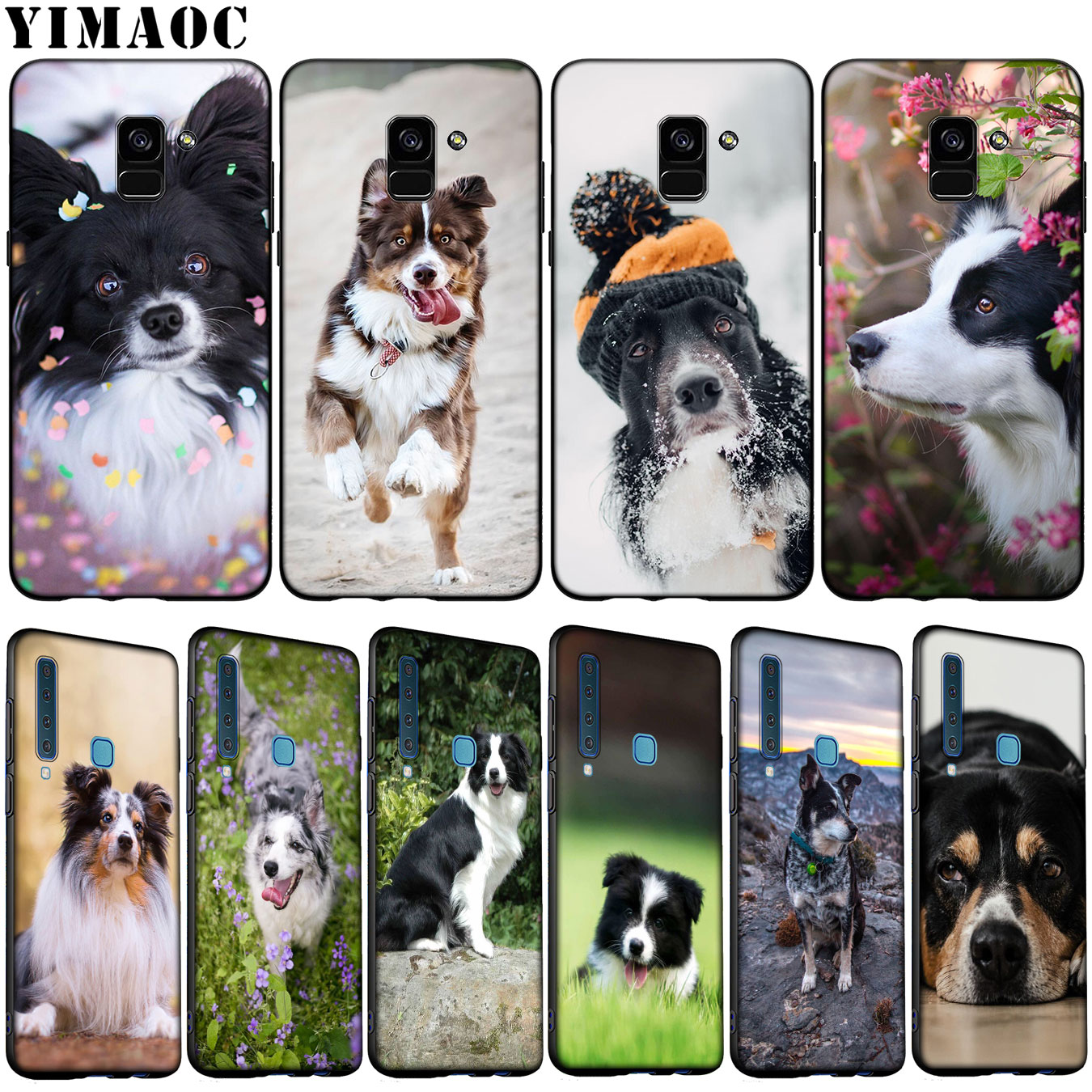 YIMAOC Border Collie <font><b>Dog</b></font> Soft Silicone <font><b>Phone</b></font> <font><b>Case</b></font> for <font><b>Samsung</b></font> <font><b>Galaxy</b></font> A6 A9 A8 A7 2018 <font><b>A3</b></font> A5 2016 <font><b>2017</b></font> Note 9 8 10 Plus Lite image