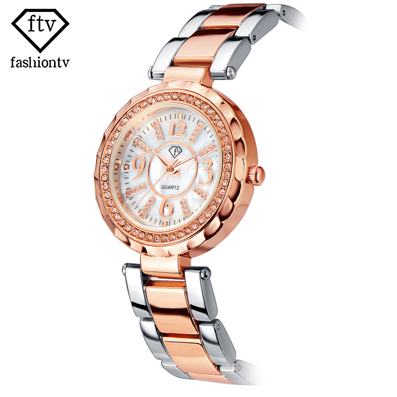 FTV Original Ladies Bracelet Watch Crystal Wrist Watches For Women Beautiful Female Quartz watch Silver Fashion