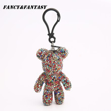 Fancy&Fantasy Trendy Women Bear Rhinestones Keychain Auto Keyring Gloomy Bear Key Chain For Women Bag Llavero Chaveiros Gift
