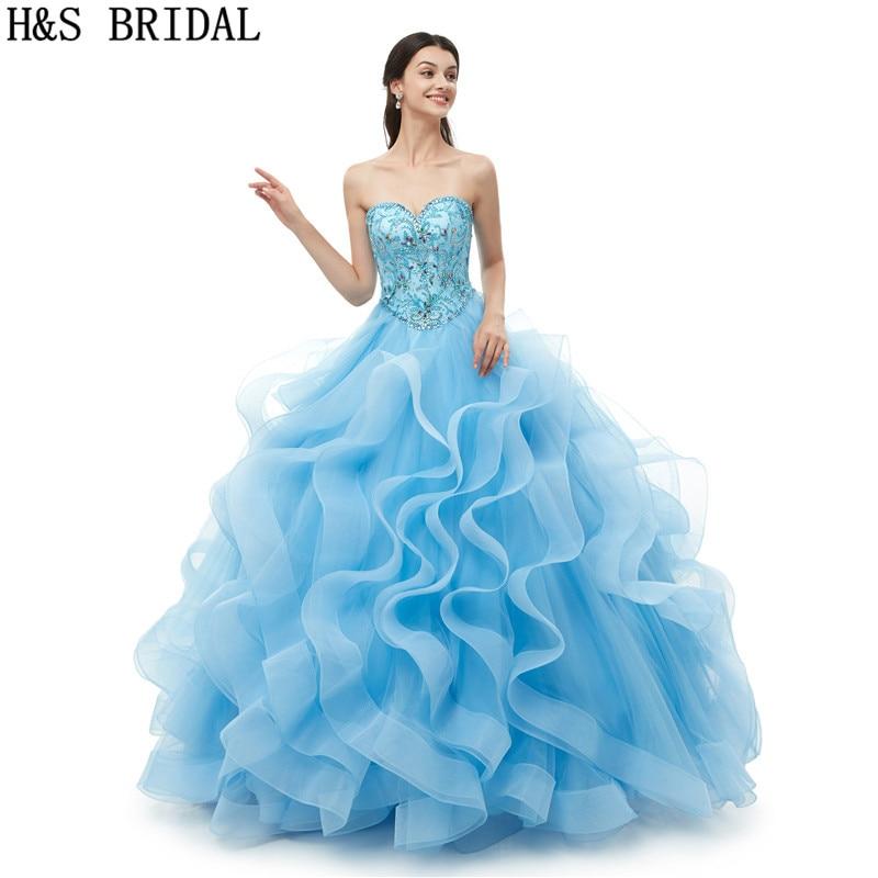 H&S BRIDAL Sweetheart Sky Blue   Prom     Dresses   Ruffles Ball Gown   Prom     Dress   2019 Beading Crystal   Dress     Prom   vestido de festa longo