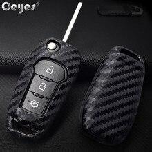 2005ca9ce Ceyes سيارة الكربون الألياف أضعاف يغطي التصميم حالة لفورد التركيز ايفرست  إكسبلورر حافة كوغا السيارات حماية مفتاح قذيفة الملحقات