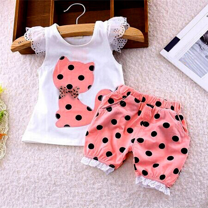 Summer Baby Girls Clothing Set Children Bow Cat Shirt+Shorts Clothes Set Suit High Quality DropShipping, Xm30