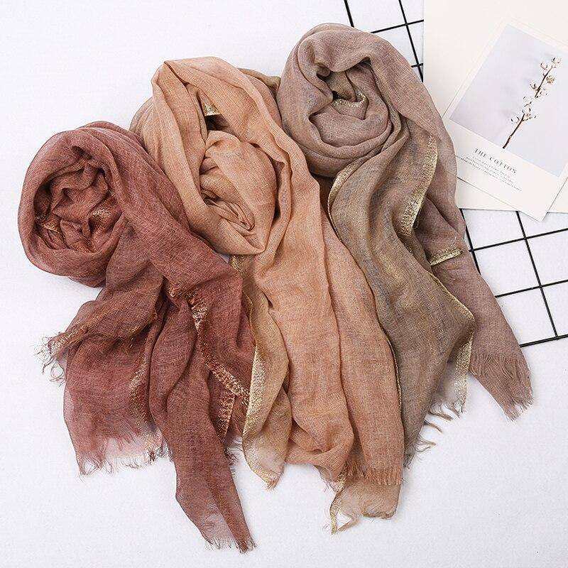 2019 Newest Plain Color Fringe Scarves Shawl Long Muslim Lurex Wrap Hijab 10 Color 10pcs/LOT Free Shipping