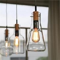 Modern Clear Glass Laboratory Bottle Pendant Light Fixture DIY Home Decoration Dinning Room Bar Cafe Wood E27 Bulb Pendant Lamp