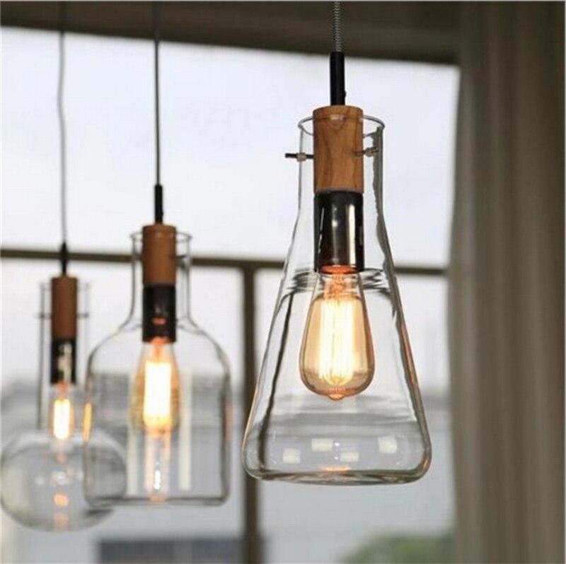 Moderne clair verre laboratoire bouteille pendentif luminaire décoration pour la maison bricolage salle à manger Bar café bois E27 ampoule suspension lampe