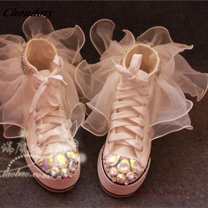 ФОТО Fashion Handmade White Fabric Pearl Rhinestone Casual Shoes High-end Magic Show Princess crystal flats Lace-Up Zapatillas Mujer