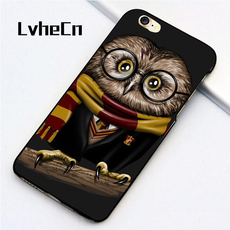 LvheCn 5 5S SE phone cover <font><b>cases</b></font> for <font><b>iphone</b></font> 6 6S 7 <font><b>8</b></font> Plus X back skin shell <font><b>Harry</b></font> <font><b>Potter</b></font> Owl Hedwig Back Print image